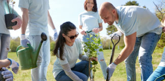 Group of people planting a tree together.
