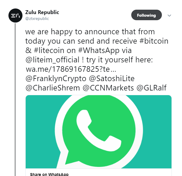 Bitcoin, Litecoin Transactions Now Available on WhatsApp | Coin News