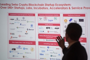 Sign showing Swiss blockchain firms