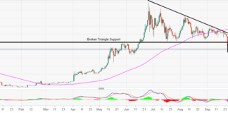 BTC/USD bear flag pattern heightens the risk for more declines