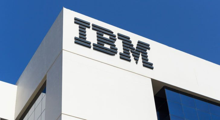 Sign of IBM on the office building